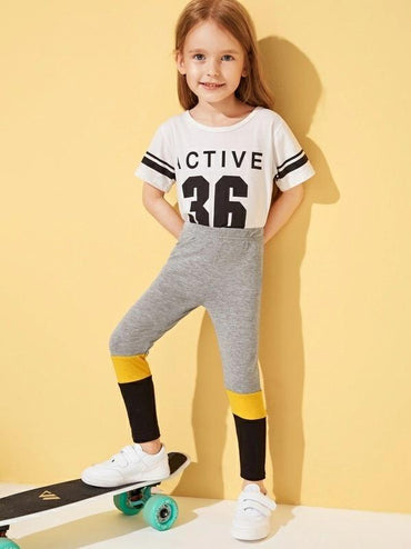 Toddler Girls Cut And Sew Panel Leggings