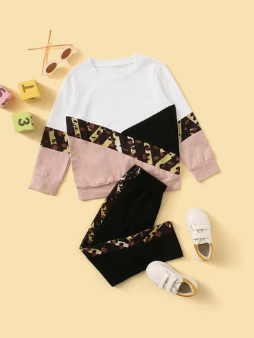 Toddler Girls Cut And Sew Sweatshirt With Leggings