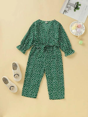Toddler Girls Daisy Floral Surplice V-Neck Belted Jumpsuit