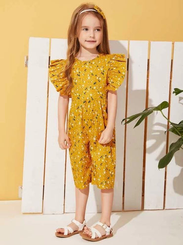 Toddler Girls Ditsy Floral Ruffle Sleeve Jumpsuit