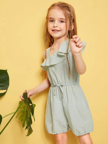 Toddler Girls Drawstring Waist Asymmetrical Neck Romper