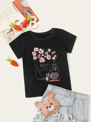 Toddler Girls Floral & Letter Print Tee
