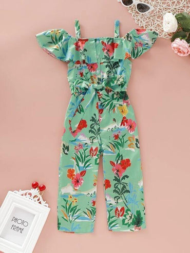 Toddler Girls Floral Print Open Shoulder Belted Jumpsuit