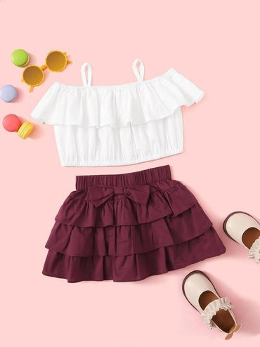 Toddler Girls Foldover Top And Bow Tiered Skirt Set