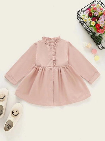 Toddler Girls Frill Trim Single Breasted Flare Coat