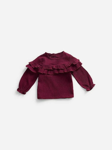Toddler Girls Frill Trim Solid Blouse