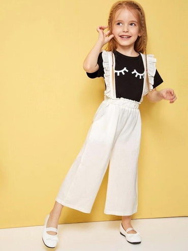 Toddler Girls Frill Trim Wide Leg Pinafore Pants