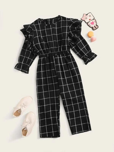 Toddler Girls Grid Plaid Layered Ruffle Trim Jumpsuit