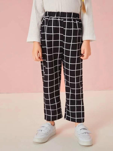 Toddler Girls Grid Plaid Straight Pants