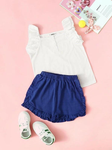 Toddler Girls Half Placket Ruffle Top And Shorts Set