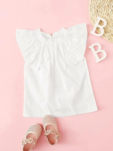 Toddler Girls Keyhole Back Ruffle Armhole Top