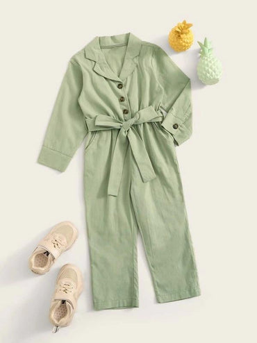 Toddler Girls Lapel Half Button Belted Shirt Jumpsuit