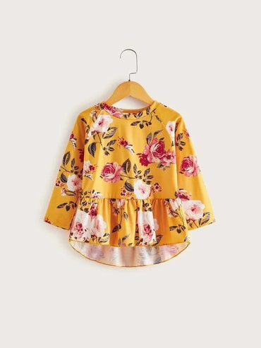 Toddler Girls Large Floral Ruffle Hem Blouse