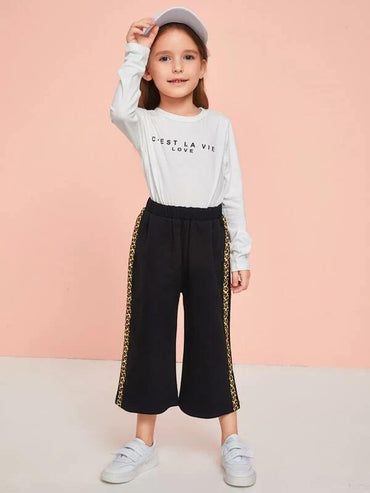Toddler Girls Leopard Tape Flare Leg Pants