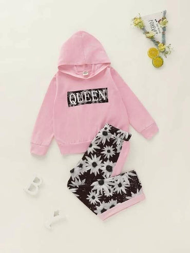 Toddler Girls Letter Graphic Hoodie With Floral Pants
