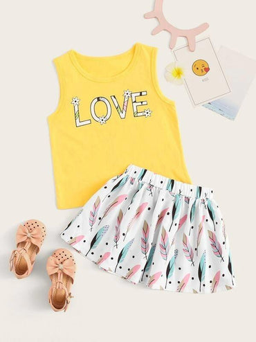 Toddler Girls Letter Print Tank Top With Skirt