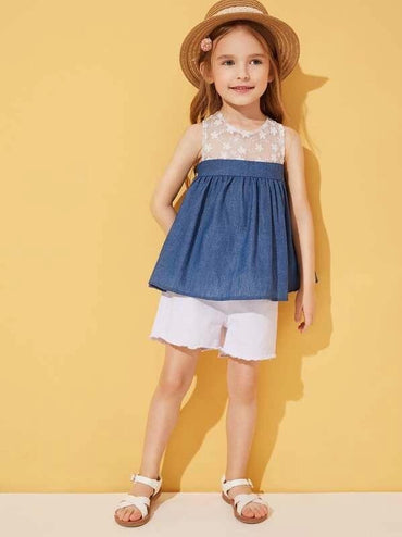 Toddler Girls Mesh Panel Smock Top