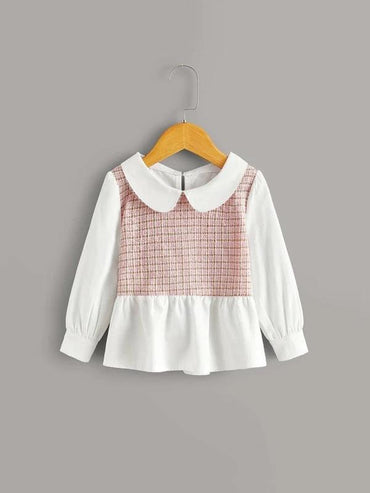 Toddler Girls Peter Pan Collar Peplum Tweed Blouse