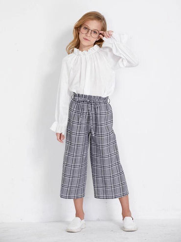 Toddler Girls Plaid Paperbag Waist Belted Wide Leg Pants