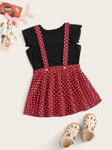 Toddler Girls Pleated Armhole Tee & Polka-Dot Pinafore Skirt Set