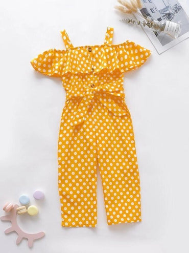 Toddler Girls Polka Dot Ruffle Trim Belted Jumpsuit