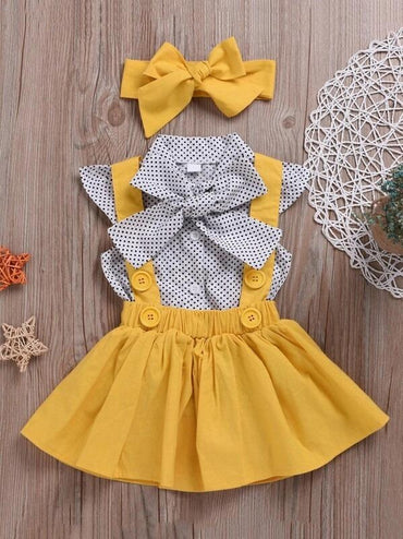 Toddler Girls Polka Dot Tie Front Top & Pinafore Skirt & Headband