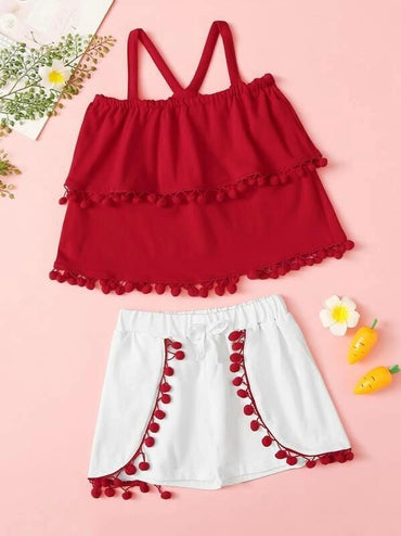 Toddler Girls Pom Pom Detail Layered Top & Shorts Set