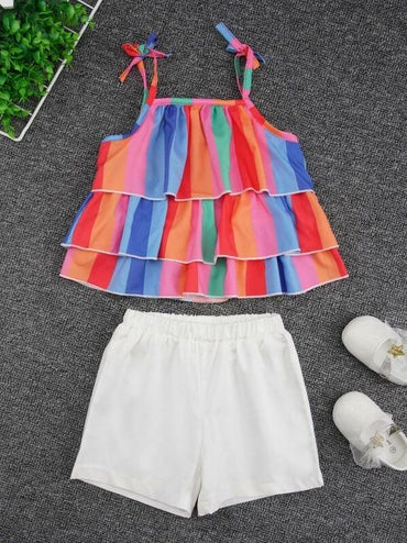 Toddler Girls Rainbow Stripe Layer Ruffle Cami Top & Shorts