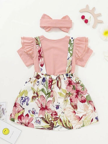 Toddler Girls Ruffle Tee & Floral Print Straps Skirt & Headband