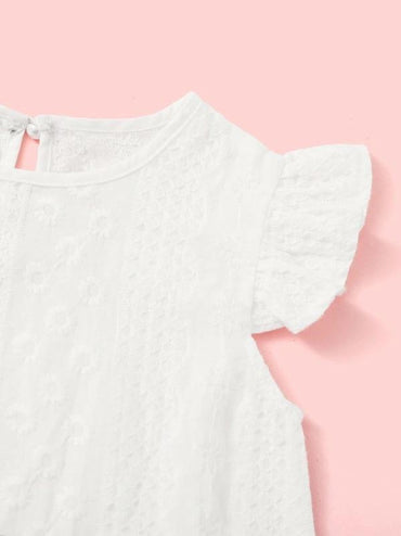 Toddler Girls Ruffle Trim Embroidered Top
