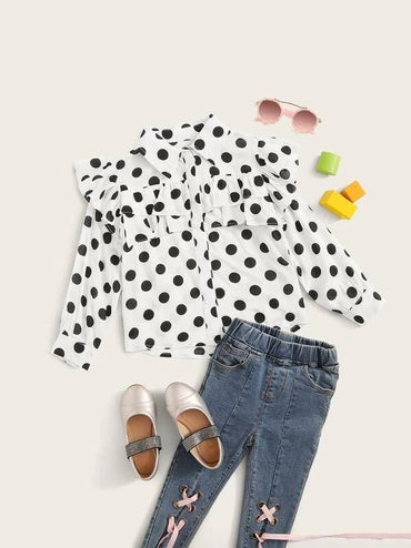 Toddler Girls Ruffle Trim Polka Dot Blouse