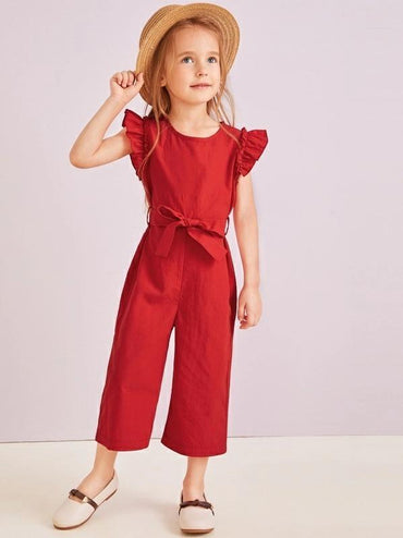 Toddler Girls Ruffle Trim Self Tie Jumpsuit