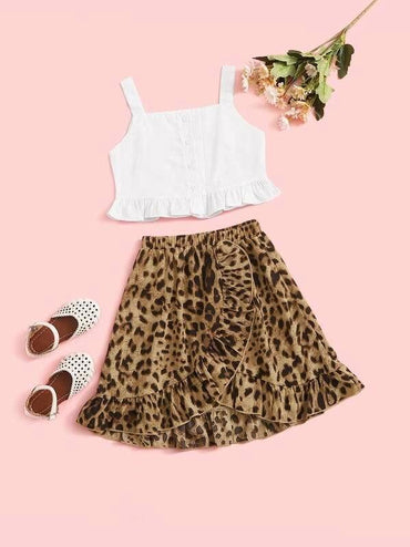 Toddler Girls Slip Frill Top With Leopard Print Ruffle Hem Skirt