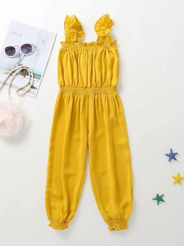 Toddler Girls Solid Frill Trim Shirred Bloomer Jumpsuit