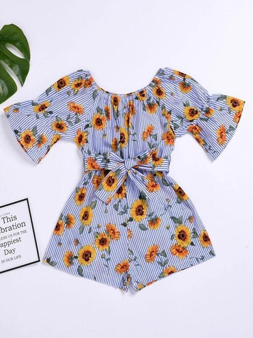 Toddler Girls Stripe & Sunflower Print Belted Playsuit