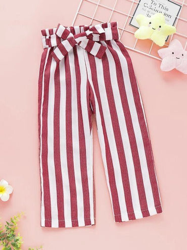 Toddler Girls Striped Belted Pants