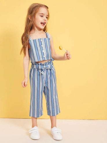 Toddler Girls Striped Straps Blouse With Paperbag Waist Pants