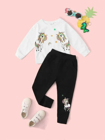 Toddler Girls Unicorn Print Sweatshirt With Sweatpants