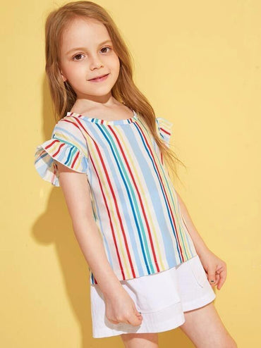 Toddler Girls Vertical-Striped Flounce Sleeve Blouse