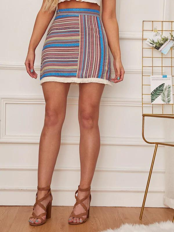 Tribal Print Fringe Hem Skirt