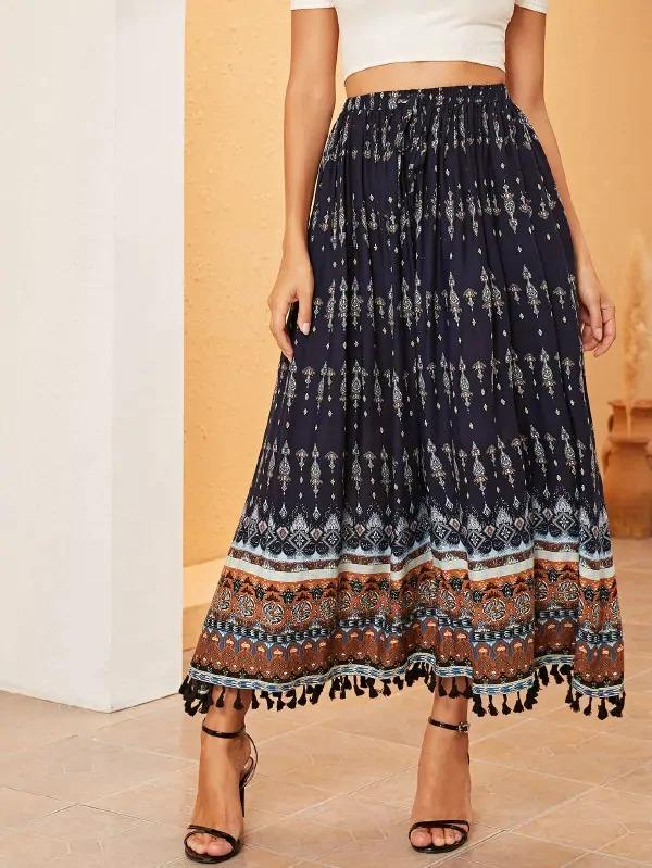 Tribal Print Tassel Hem Fit & Flare Skirt