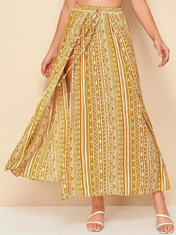 Tribal Print Tie Waist Wrap Skirt