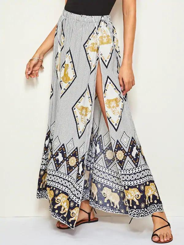 Tribal & Striped Print M-Slit Hem Skirt