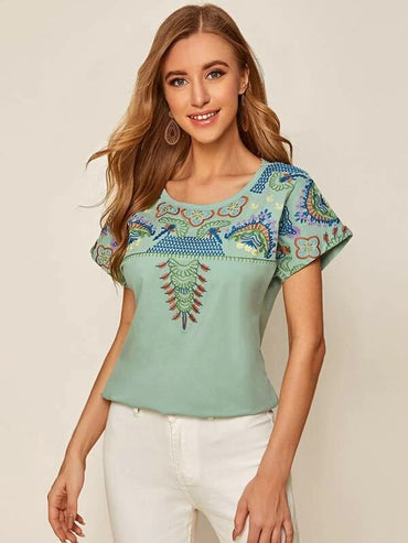 Women Tribal Embroidery Round Neck Tee