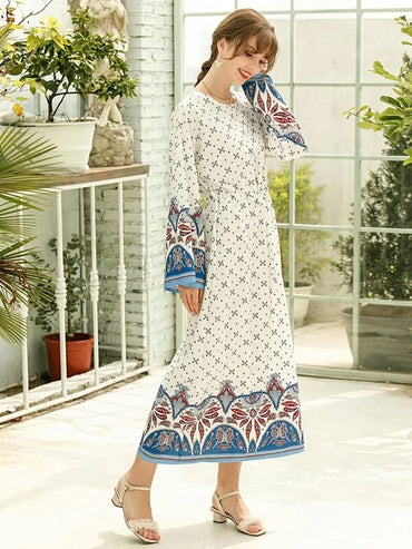 Women Tribal Print Bell Sleeve Drawstring Waist Tunic Dress