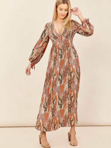 Women Tribal Print Long Sleeve Maxi Dress