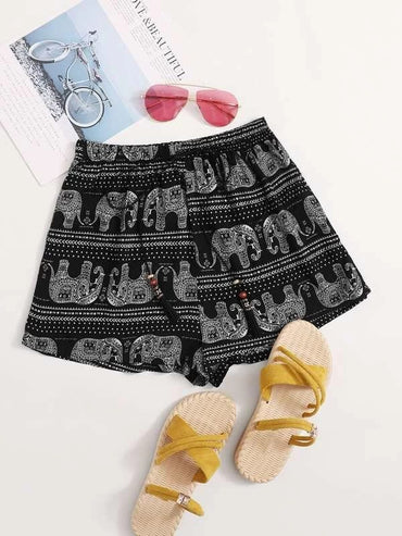 Women Tribal Print Tassel Detail Drawstring Waist Shorts