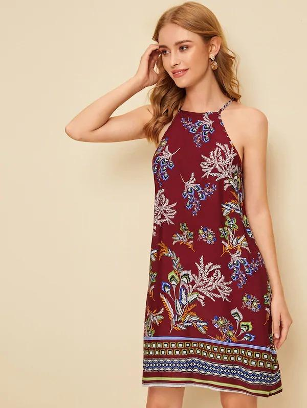 Tribal Print Halter Dress