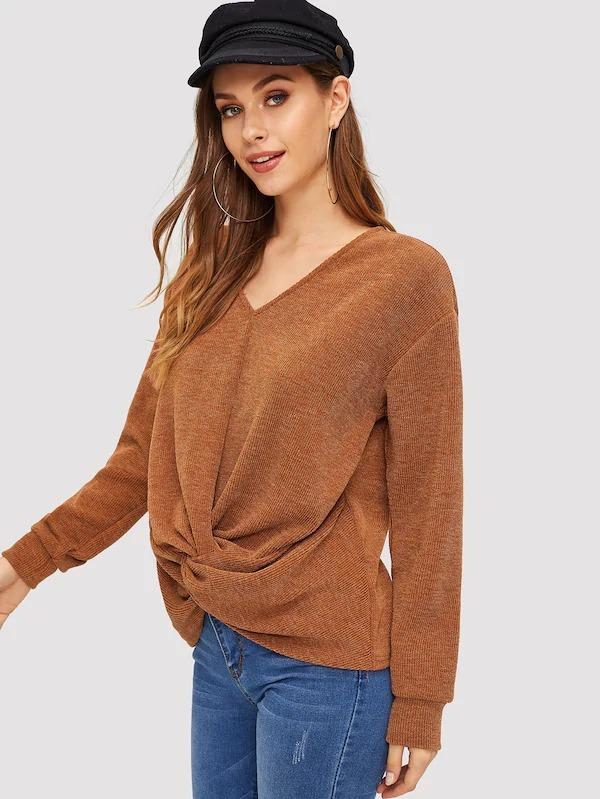 Twist Detail Rib-Knit Pullover