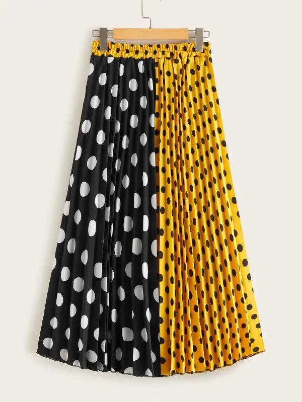 Two Tone Polka Dot Pleated Skirt
